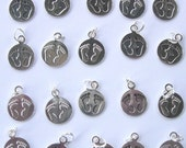 Silver Metal Baby Footprint Charms | double sided 1/2 inch round | baby shower | favor | gender reveal