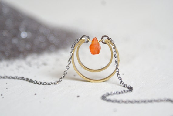 Carnelian Moon Drop necklace