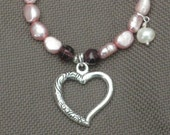 Necklace-Beaded Necklace-Pearl Necklace-Pink Necklace-Heart Necklace-Pink Jewelry-Pink and Purple Necklace
