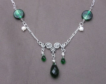 Beaded Necklace-Emerald Green Necklace-Green Beaded Necklace-Celtic Style Necklace-Medieval Style Necklace- Pearl Necklce-Celtic Jewelry