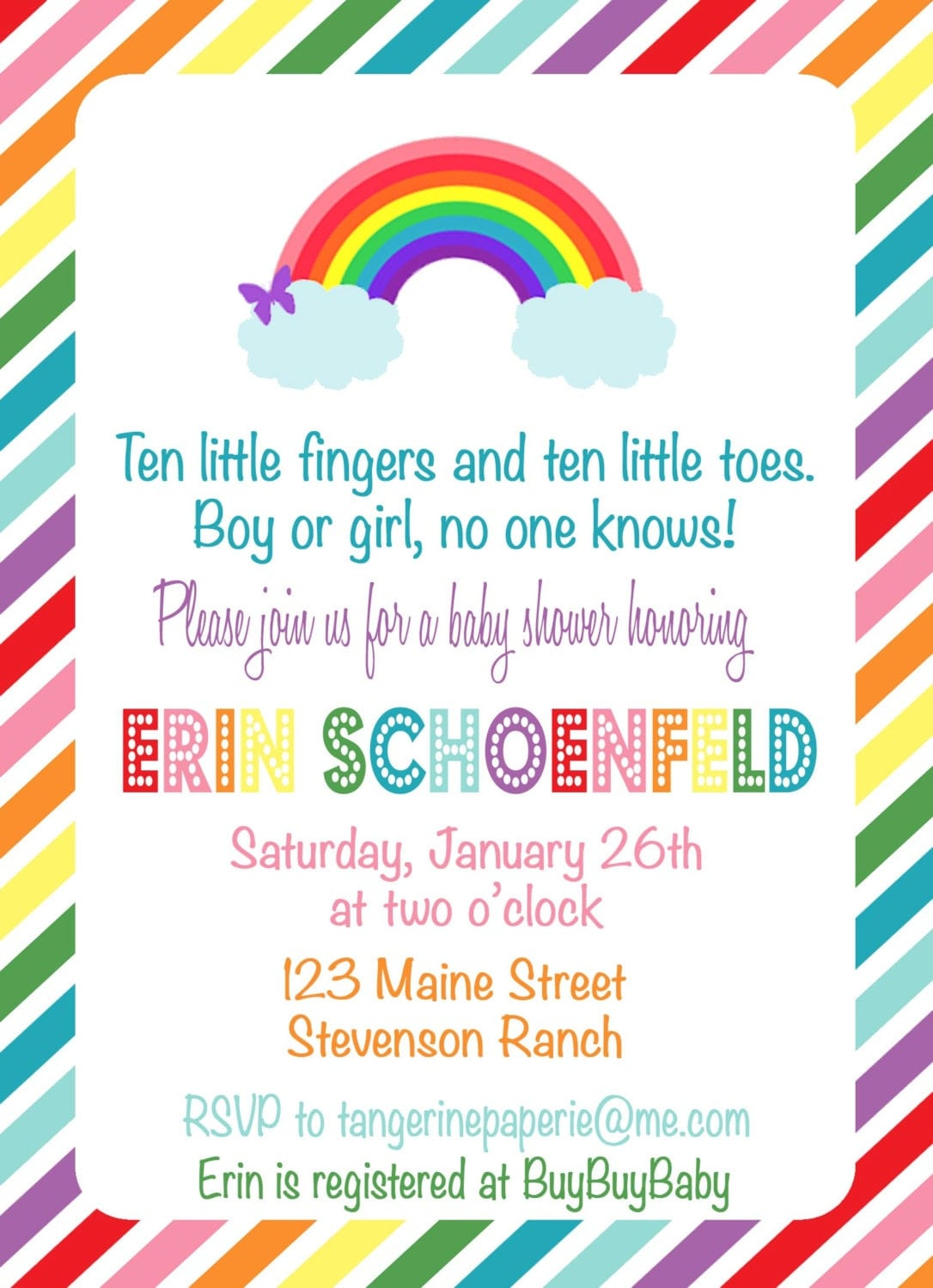 rainbow baby shower invitation by tangerinepaperie on etsy