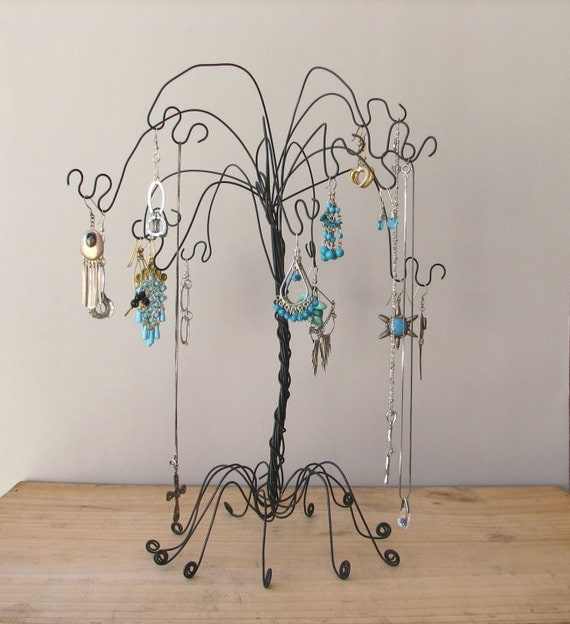 Items similar to black wire jewelry tree stand earring for How to make a wire tree jewelry stand