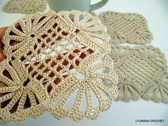 Crochet Coaster PATTERN Shabby Chic Decor DIY Gift, Crochet Home Decor Crochet Gifts, Crochet Coasters, Instant Download PDF Pattern No.15