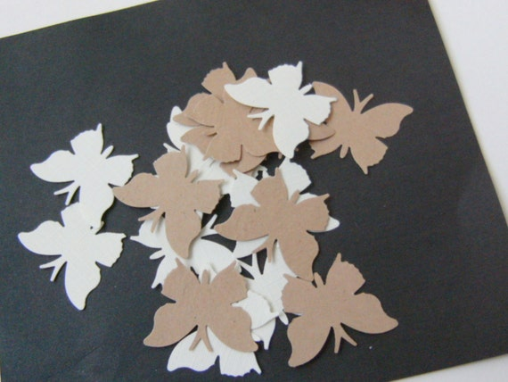Butterfly Die Cut Punchies 1 Inch Cream Tan Set of 60