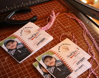 12 Baseball GIFT TAGS with PHOTO - personalized - Fully Assembled