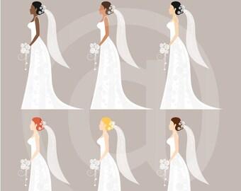 Wedding Clip Art, Bridal Clip Art, Royalty Free Clip Art, N02, Instant Download