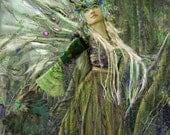 Dryad. A tree spirit forest fairy. An 11x14 limited edition double matted print