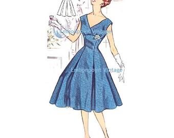 Plus Size (or any size) Vintage 1950s Evening Dress Pattern - PDF - Pattern No 115 Roberta