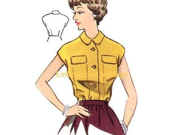 Plus Size (or any size) Vintage 1950s Blouse Pattern - PDF - Pattern No 105 Michele