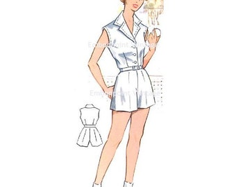 Plus Size (or any size) Vintage 1950s Tennis Blouse Pattern - PDF - Pattern No 112a Dawn