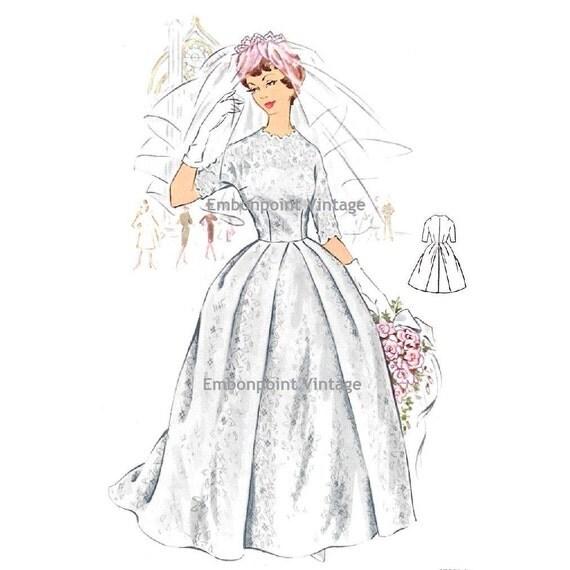 Plus Size (or any size) Vintage 1950s Wedding Dress Pattern - PDF - Pattern No 119 Lois