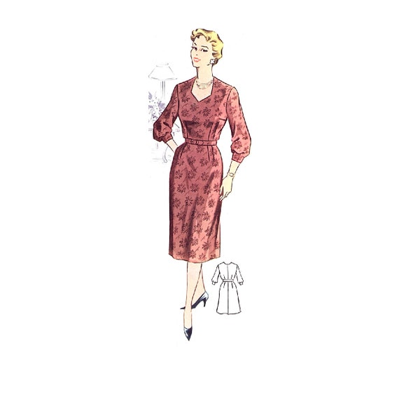 Plus Size (or any size) Vintage 1950s Dress Pattern - PDF - Pattern No 40: Lisa