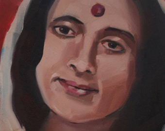 Anandamayi Ma Portrait, Bliss Art Original Oil Painting, 8 x 10 inches