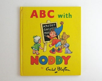 ABC with Noddy Enid Blyton - Alphabet Book - Vintage Yellow Book  Colorful Illustrated Book Childrens Poetry - Educational Learning Letters