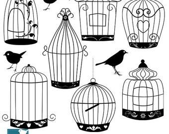 Bird Cage Silhouettes - Digital Clipart / Scrapbooking black - card design, invitations, paper crafts, web design - INSTANT DOWNLOAD