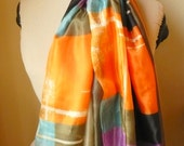Tangerine orange natural silk scarf, red, orange, turquoise, lines patterns, vivid colors, hand dyed, soft light, gift, anniversary birthday