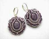 BAROQUE - soutache earrings, handmade, embroidered in violet and silver satin strips, TOHO beads, perfect gift - oaak.