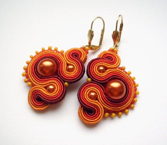 Orange soutache earrings,  handmade, embroidered in burgundy, red and orange satin strips, TOHO beads. Perfect gift - oaak.