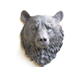 MED. GREY Faux Taxidermy Large Bear Head Wall Hanging/Wall Mount in medium gray // nursery // woodland // fake animal head // kids room //