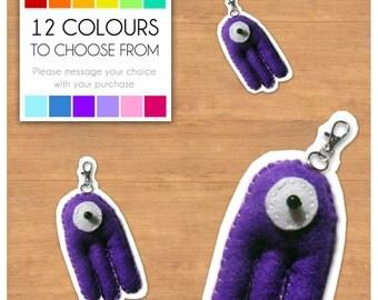 "Mini Felt Monster Plush Keyring by BABUA - ""Fred"" - 12 Colors"