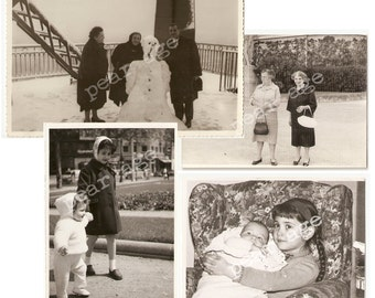 Vintage photo collection from various periods. Four vintage real photos. Paper ephemera from Spain