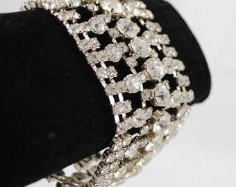 Valentine FREE SHIPPING SALE 1940's 1940s Vintage Bling Prong Set Clear Rhinestone Chunky Huge Wide Marilyn Bracelet
