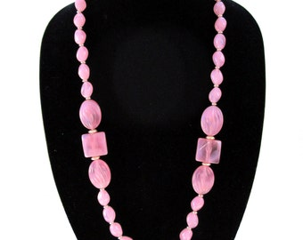 Pink Lucite necklace, beaded chunky long necklace, semi-translucent Lucite, vintage, 80s