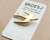 Gold Swallow Brooch Plastic Bird Brooch Pin