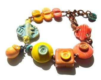 SALE! Bright Earth Geometric Bubble Dings- handmade lampwork glass bead ceramic art bead and patinated chain mixed media bracelet