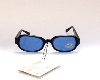 Vintage 90s NOS Dead Stock Trainspotting Sunglasses w Blue Glasses and Black Frame - Seapunk/Grunge/Acid House/Rave Culture