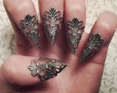 Gunmetal Dragon Claws // Nail Armor // Set of 5