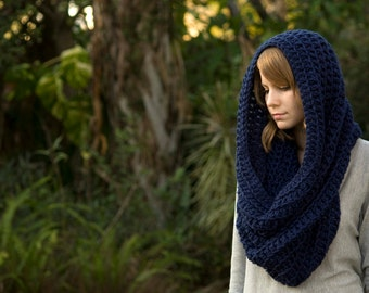 Oversized Hooded Cowl, Infinity Scarf, Navy Blue Crochet Chunky Cowl