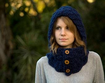 Navy Hooded Cowl, Crochet Cowl, Dark Blue Scoodie