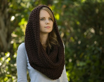 Chunky Cowl, Scarf Shawl Hood, Chocolate Brown