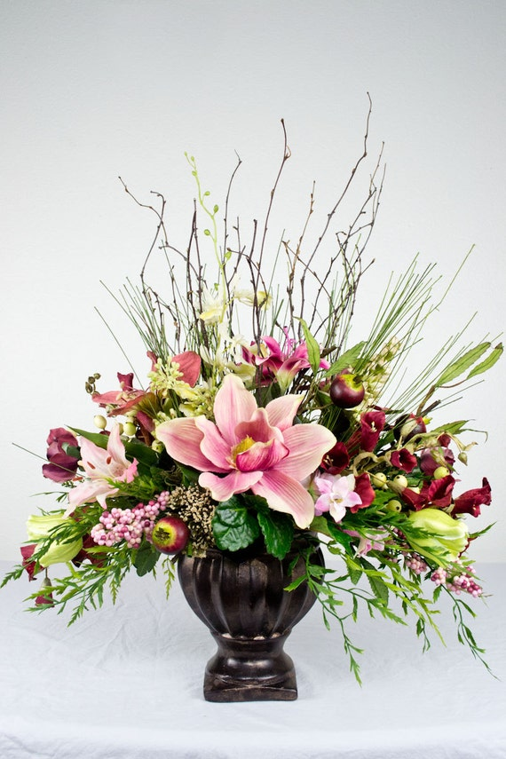 Items similar to pink traditional silk floral arrangement