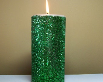 Green Glitter Unscented Pillar Candle - 4, 6, 9 inch