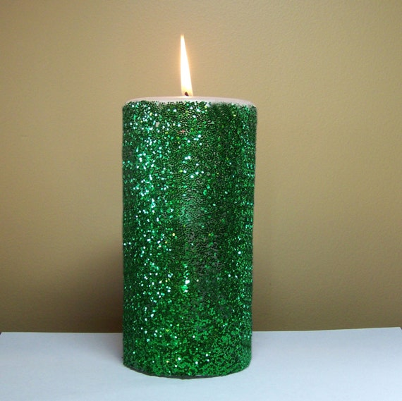 Green glitter unscented pillar candle 4 6 9 inch for Shimmer pillar candle