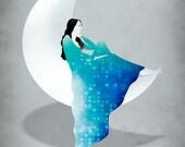 Cancer Zodiac Art Print, June July Birthday, Fashion Illustration, Moon