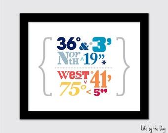 Personalized Latitude Longitude Print or Canvas / Wedding Gift - Housewarming Gift