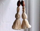 Dangle tassel wood earrings - repurposed materials