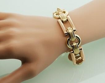 Vintage Two Tone Gold Link Bracelet