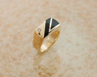 Vintage Ring - Vintage 14k Yellow Gold Inlaid Black Onyx and Diamond Men's Ring