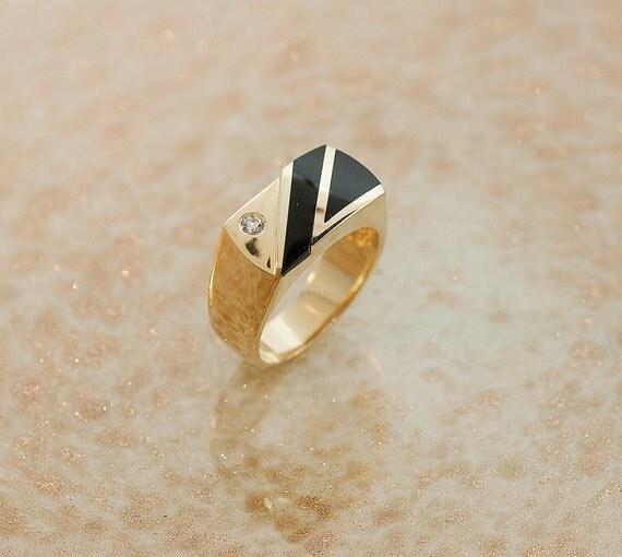 Vintage Ring - Vintage 14k Yellow Gold Inlaid Black Onyx and Diamond Men's Ring