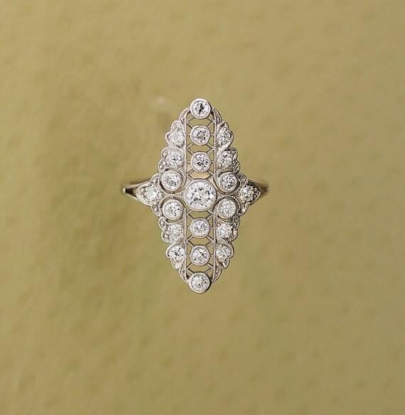 Antique Ring - Antique Platinum and Diamond Ring