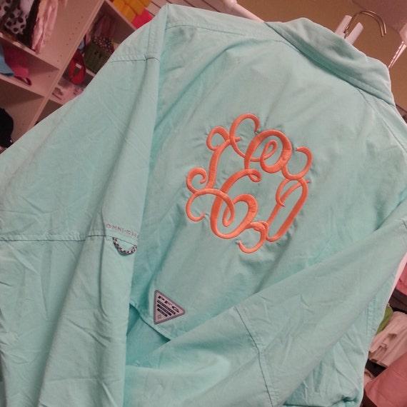 Monogram columbia aqua fishing shirt pfg font shown for Monogrammed fishing shirts