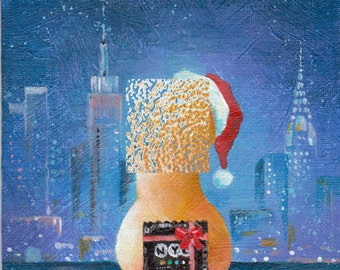 Fine art print, NEW YORK CONDOM, christmas, penis, cock art, gay art, gay interest, original acrylic print