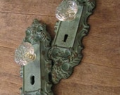 2 Aqua cast iron hooks with Crystal Knobs, Curtain holder, ORGANIZE keys, towels, jewelry, The Charming Wall