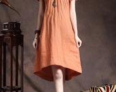 orange tunic dress with tucks / linen tunic sundress / loose kaftan dress / long caftan tunic / Custom XS- XL,XXL, Plus size women. A8047