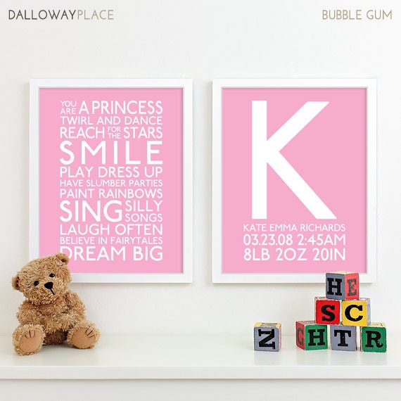 Birth Of A Baby Girl Quotes: Baby Girl Nursery Art Print Playroom Rules Subway Art Quotes