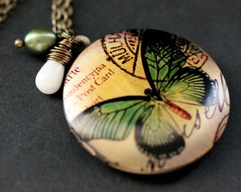 Green Butterfly Locket Necklace. Butterfly Necklace with White Coral Teardrop and Green Fresh Water Pearl. Handmade Jewelry.
